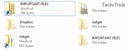 how to change file type from shortcut to folder